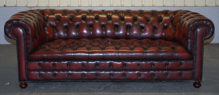 We are delighted to offer for sale this very rare large grand original circa 1880-1900 oxblood leather Chesterfield club sofa in fully restored condition with tufted buttoned base    This is a very good find, you almost never come across late