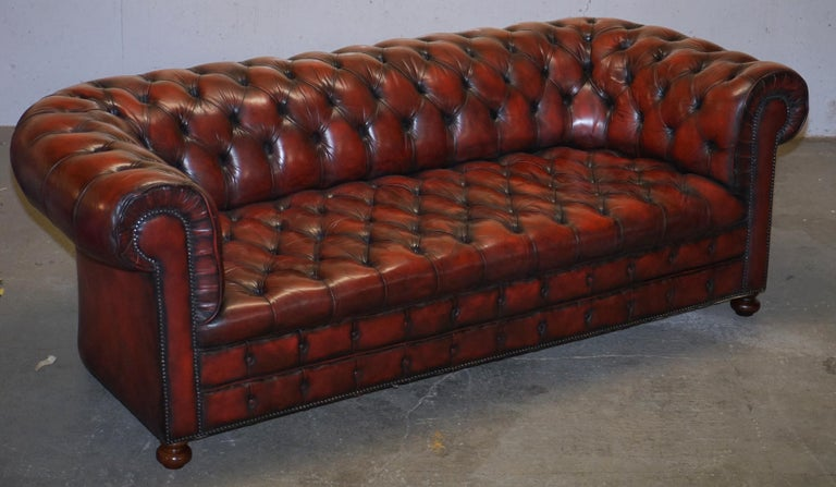 Victorian Fully Restored Hand Dyed Oxblood Leather Fully Tufted Chesterfield Buttoned Sofa For Sale