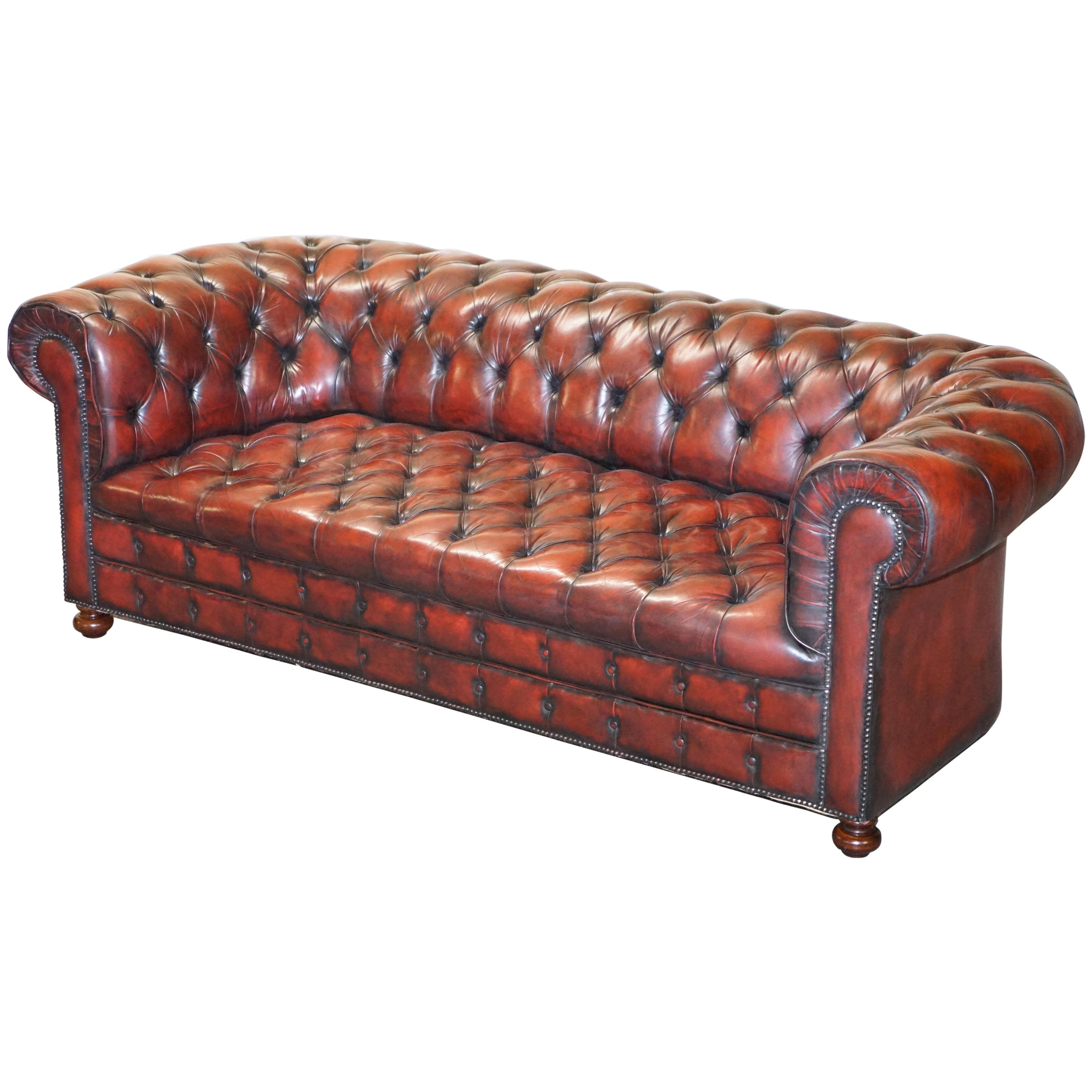 Fully Restored Hand Dyed Oxblood Leather Fully Tufted Chesterfield Buttoned Sofa