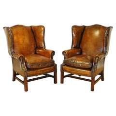 Fully Restored Hand Dyed Vintage Wingback Chairs Feather Filled