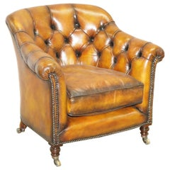 Fully Restored Howard and Sons Chesterfield Brown Leather Stamped Club Armchair