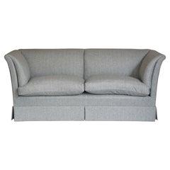 Fully Restored Howard & Son's Baring Sofa Grey Herringbone 100% Wool Upholstery