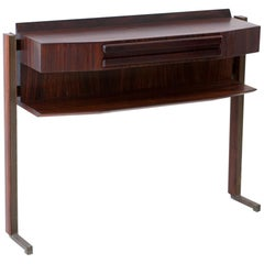 Fully Restored Italian Mid-Century Modern Rosewood and Brass Console Table