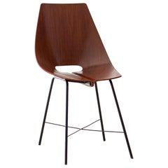 Fully Restored Italian Playwood Chair by Società Compensati Curvati , 1950s