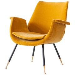 Fully Restored Italian Senape Velvet Lounge Armchair by Gastone Rinaldi