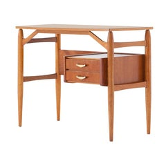 Fully Restored Italian Teak and Brass Desk, 1950s