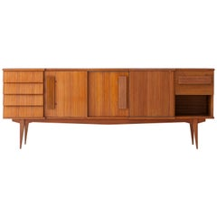 Fully Restored Italian Teak Sideboard with Chest of Drawers, 1950s