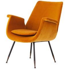 Fully Restored Italian Yellow Velvet Lounge Armchair by Gastone Rinaldi