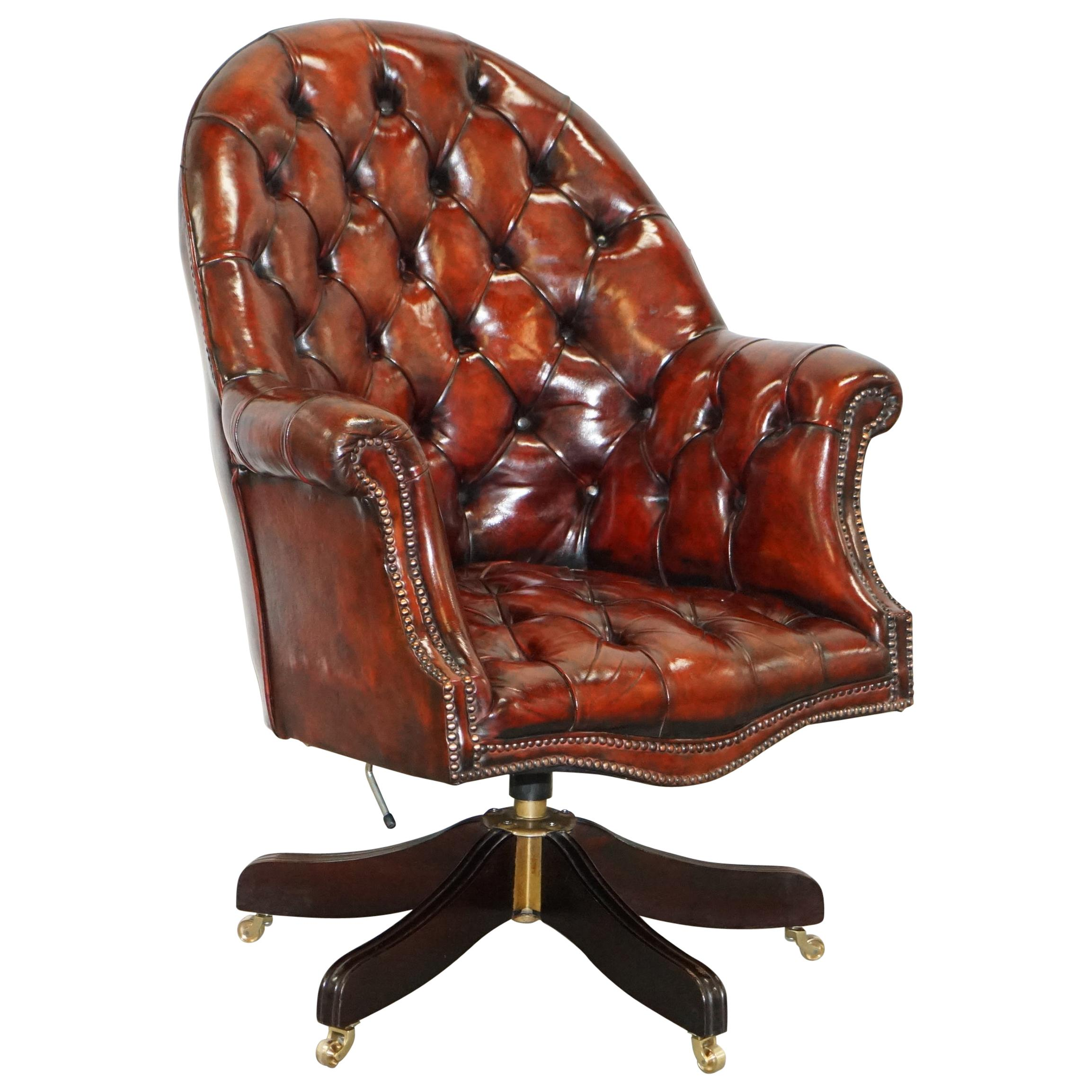 Fully Restored Mahogany Brown Leather Chesterfield Captains Directors Armchair