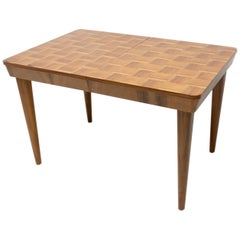 Fully Restored Midcentury Adjustable Dining Table with a Chess Pattern by Jindř