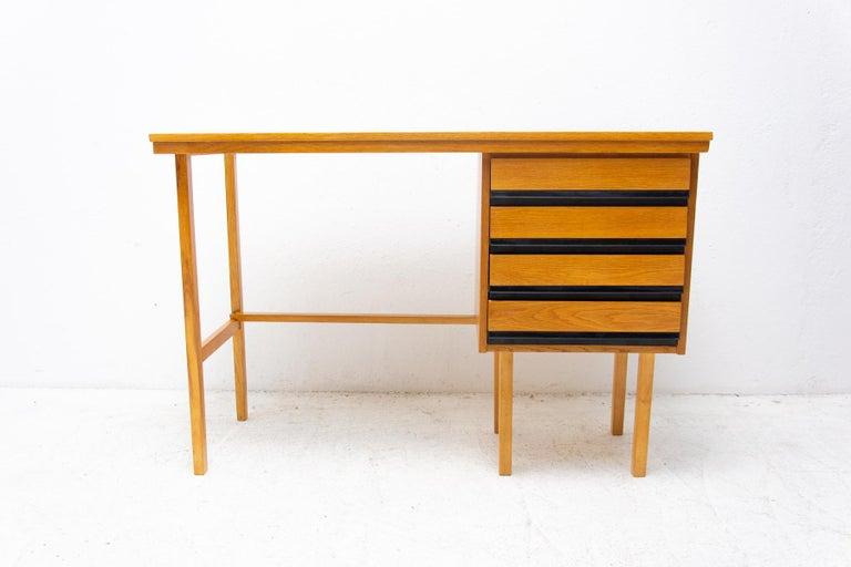 Mid century beech wood writing desk, 1960´s, Czechoslovakia