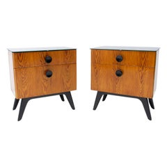 Fully Restored Night Stands by Jindřich Halabala for Úp Závody, 1950´s, Czechosl