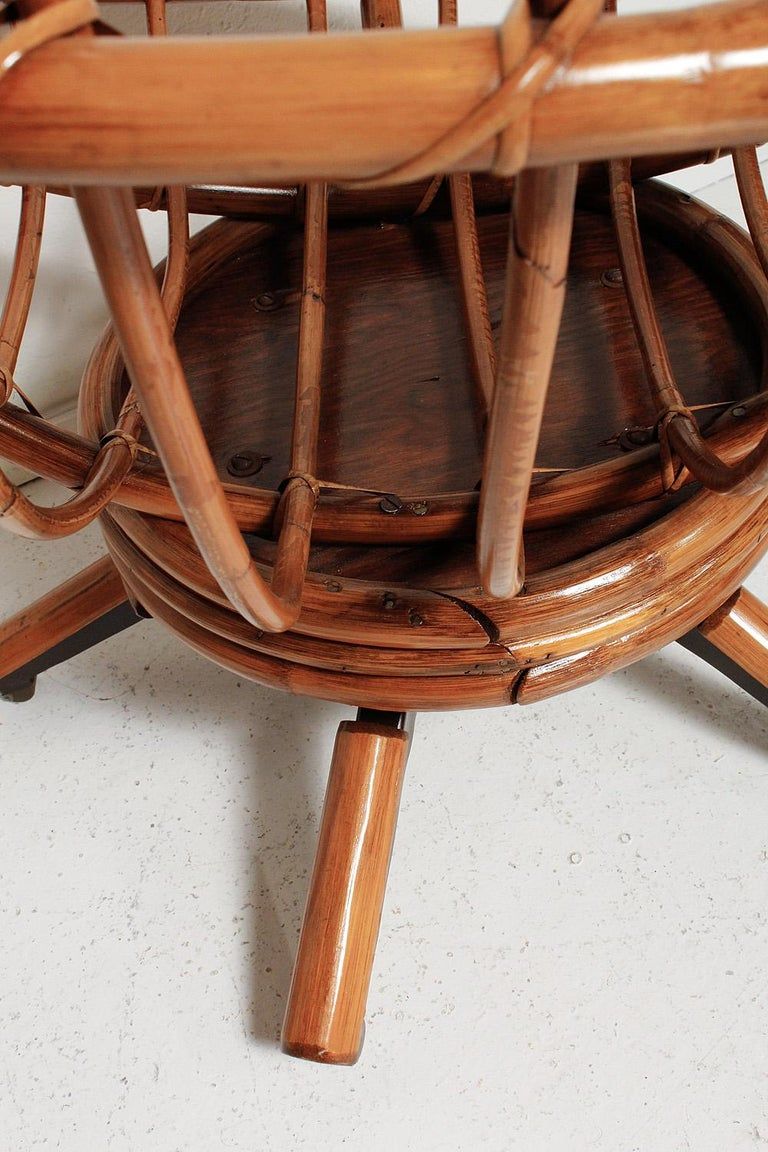 Fully Restored Pair of Bamboo Swivel Chairs, American, circa 1960 For Sale 5