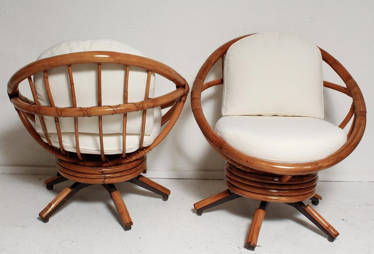 Mid-Century Modern Fully Restored Pair of Bamboo Swivel Chairs, American, circa 1960 For Sale