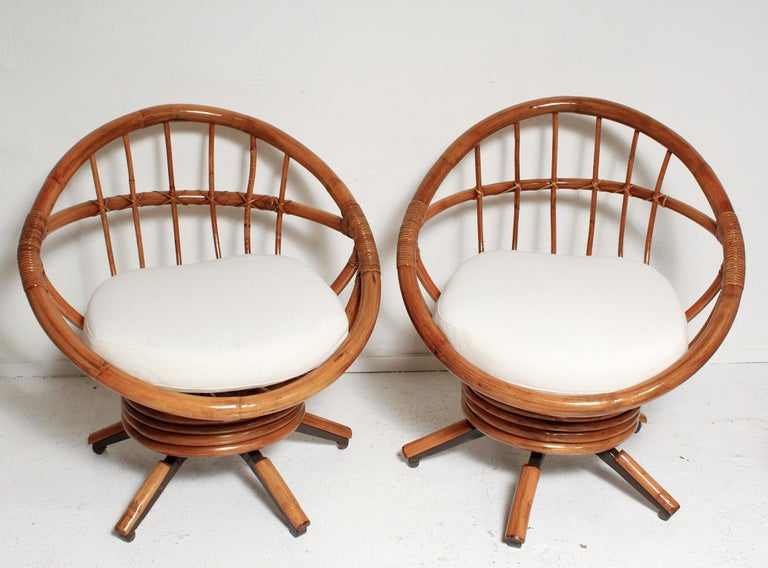 Painted Fully Restored Pair of Bamboo Swivel Chairs, American, circa 1960 For Sale