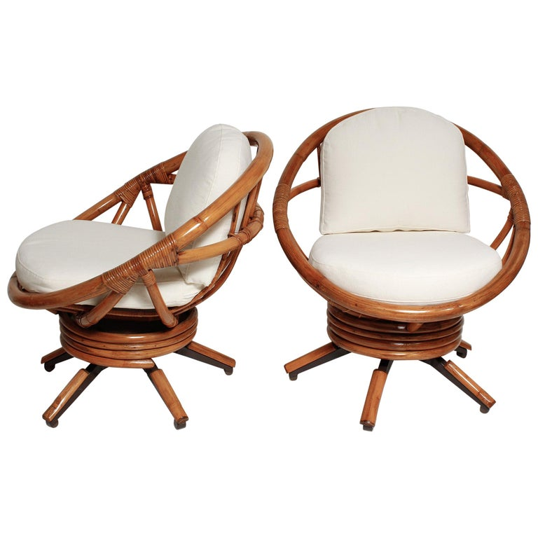 Fully Restored Pair of Bamboo Swivel Chairs, American, circa 1960 For Sale