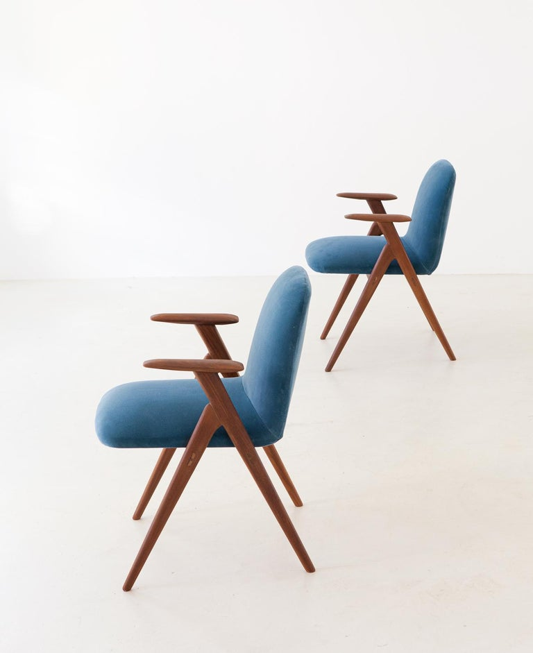 Mid-Century Modern Fully Restored Pair of Blue Velvet and Teak Armchairs, 1950s For Sale