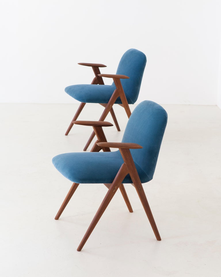 Mid-Century Modern Fully Restored Pair of Blue Velvet and Teak Armchairs, 1950s