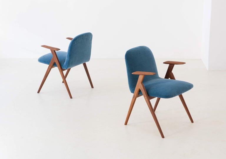 Italian Fully Restored Pair of Blue Velvet and Teak Armchairs, 1950s