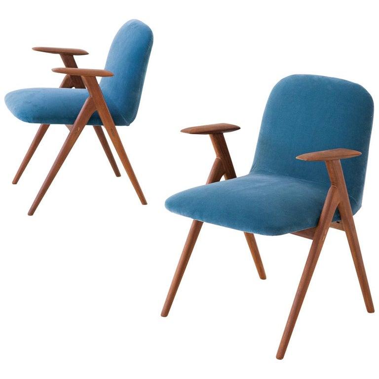 Fully Restored Pair of Blue Velvet and Teak Armchairs, 1950s