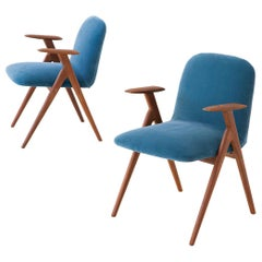 Fully Restored Pair of Blue Velvet and Teak Armchairs, 1950s