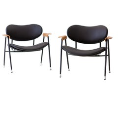 Fully Restored Pair of Italian Leather Lounge Chairs by Gastone Rinaldi for RIMA