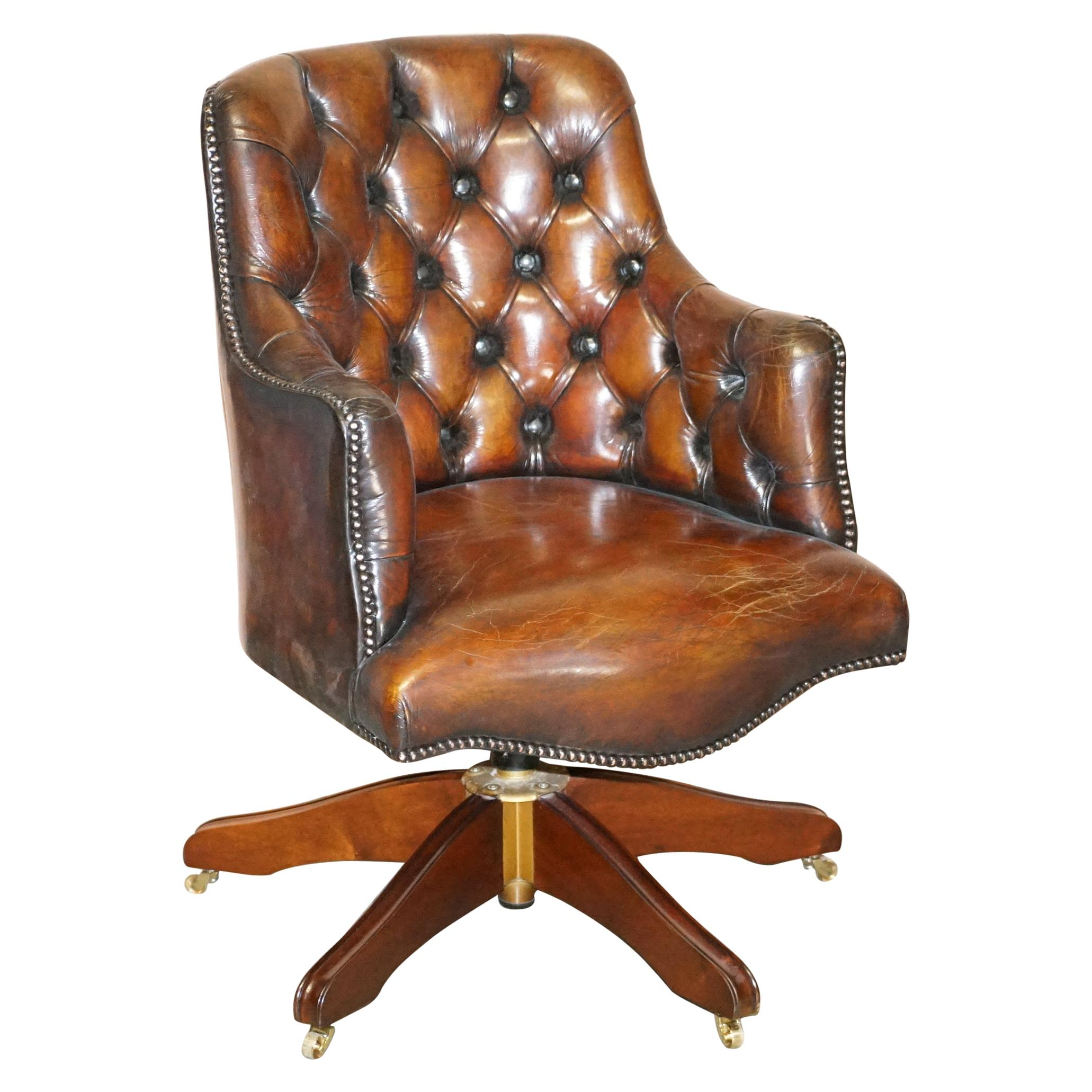 Fully Restored Rich Cigar Brown Leather Chesterfield Directors Captains Chair