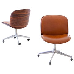 Pair of Fully Restored Rosewood Swivel Desk Chairs by Ico Parisi for MIM Roma