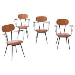 Fully Restored Set of 4 Italian Iron and Teak Dining Armchairs, 1950s