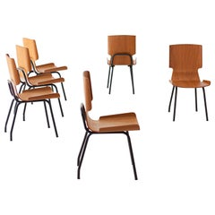 Fully Restored Set of Six Italian Curved Teak Chairs
