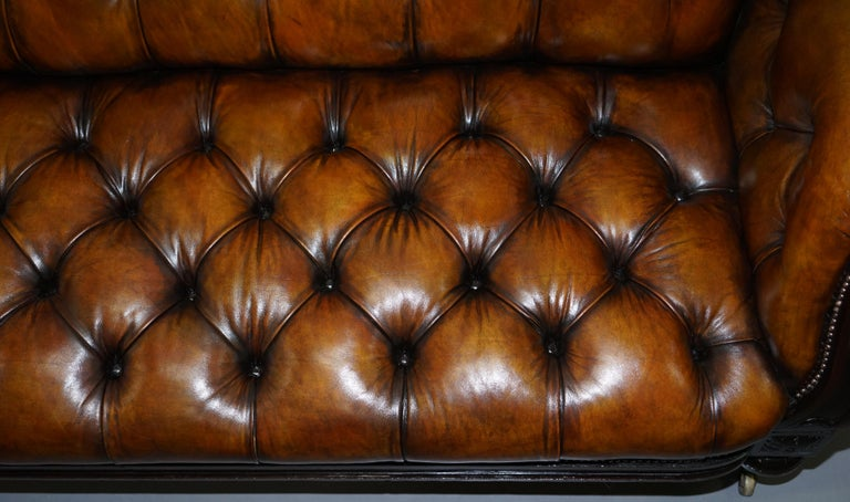 Fully Restored Show Frame Victorian Redwood Chesterfield Brown Leather Sofa For Sale 4
