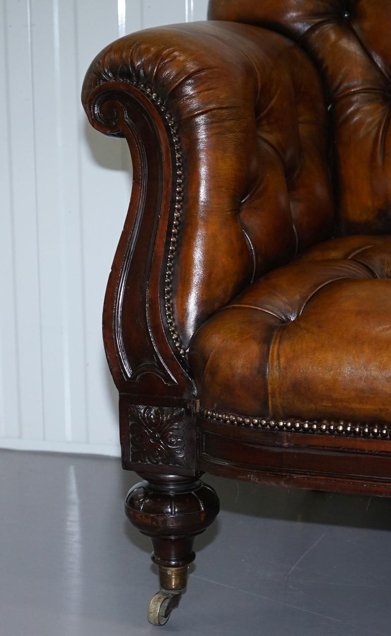 Fully Restored Show Frame Victorian Redwood Chesterfield Brown Leather Sofa For Sale 5