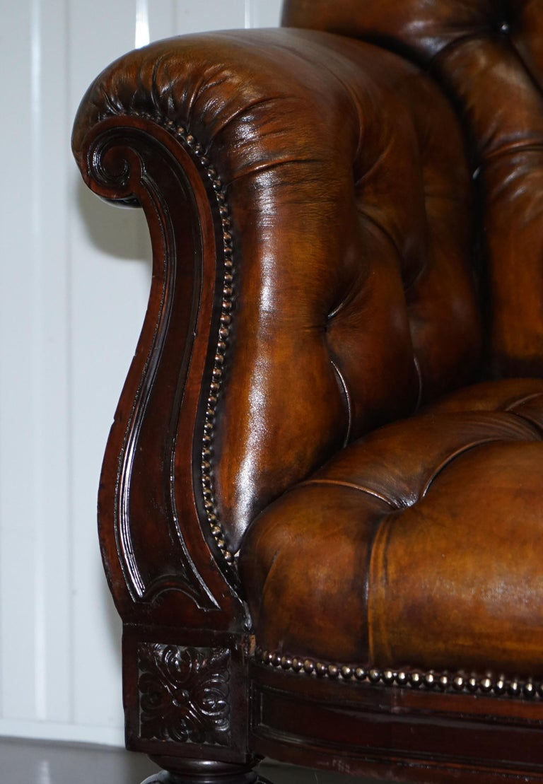 Fully Restored Show Frame Victorian Redwood Chesterfield Brown Leather Sofa For Sale 6