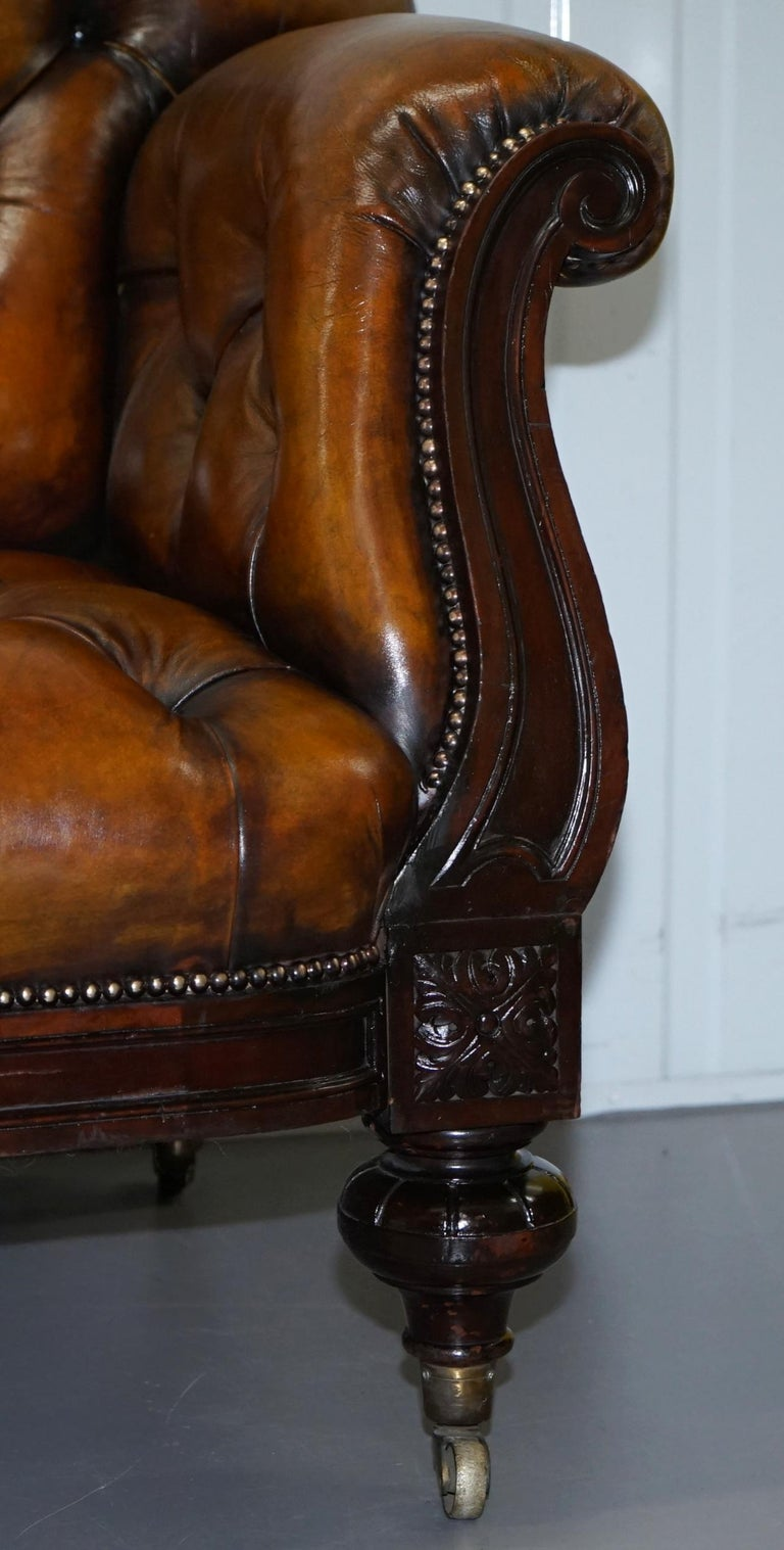 Fully Restored Show Frame Victorian Redwood Chesterfield Brown Leather Sofa For Sale 8