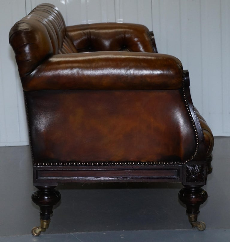 Fully Restored Show Frame Victorian Redwood Chesterfield Brown Leather Sofa For Sale 10