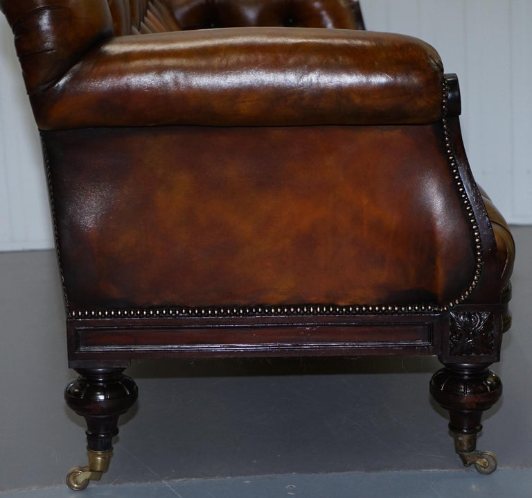 Fully Restored Show Frame Victorian Redwood Chesterfield Brown Leather Sofa For Sale 11