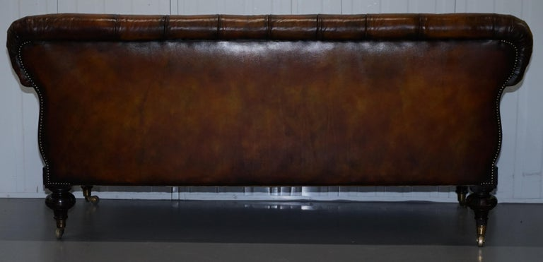 Fully Restored Show Frame Victorian Redwood Chesterfield Brown Leather Sofa For Sale 12