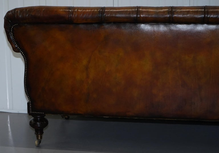 Fully Restored Show Frame Victorian Redwood Chesterfield Brown Leather Sofa For Sale 13