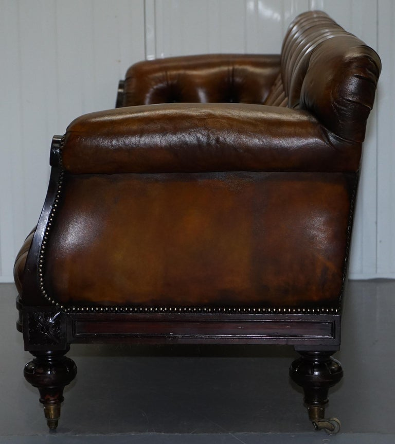 Fully Restored Show Frame Victorian Redwood Chesterfield Brown Leather Sofa For Sale 14