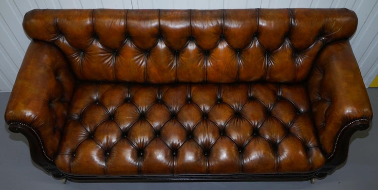 Hand-Crafted Fully Restored Show Frame Victorian Redwood Chesterfield Brown Leather Sofa For Sale