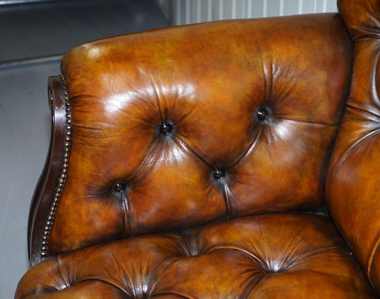 19th Century Fully Restored Show Frame Victorian Redwood Chesterfield Brown Leather Sofa For Sale