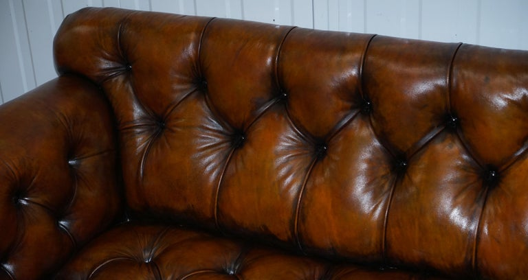 Fully Restored Show Frame Victorian Redwood Chesterfield Brown Leather Sofa For Sale 1