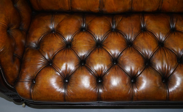 Fully Restored Show Frame Victorian Redwood Chesterfield Brown Leather Sofa For Sale 3