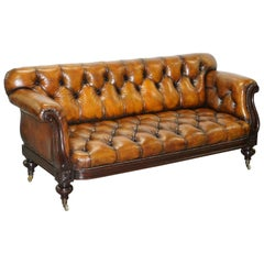 Fully Restored Show Frame Victorian Redwood Chesterfield Brown Leather Sofa