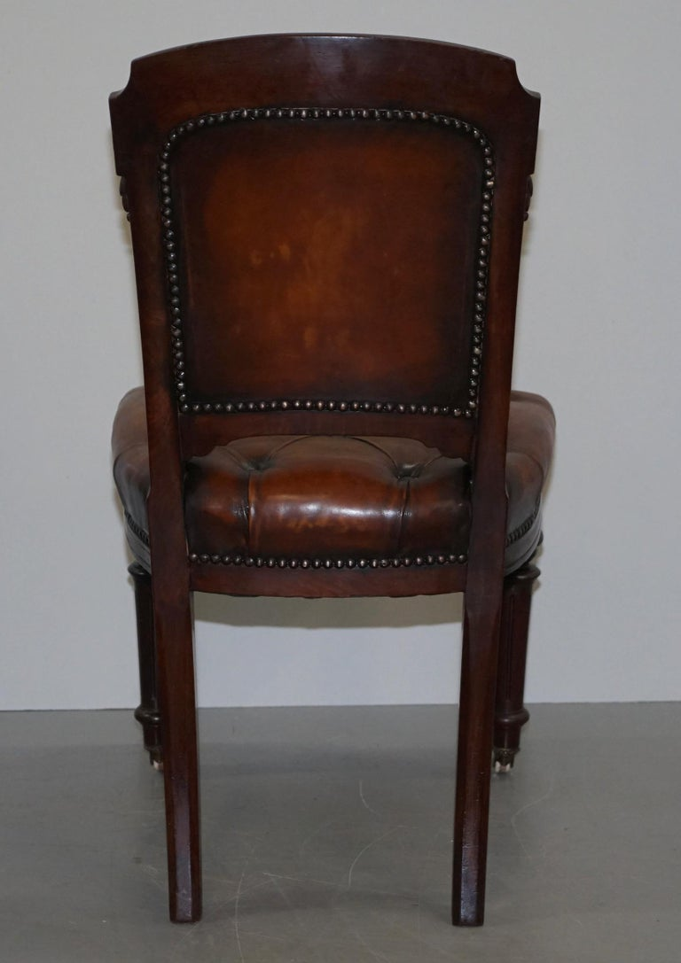 Fully Restored Suite of Five Chesterfield Brown Leather & Mahogany Dining Chairs For Sale 6