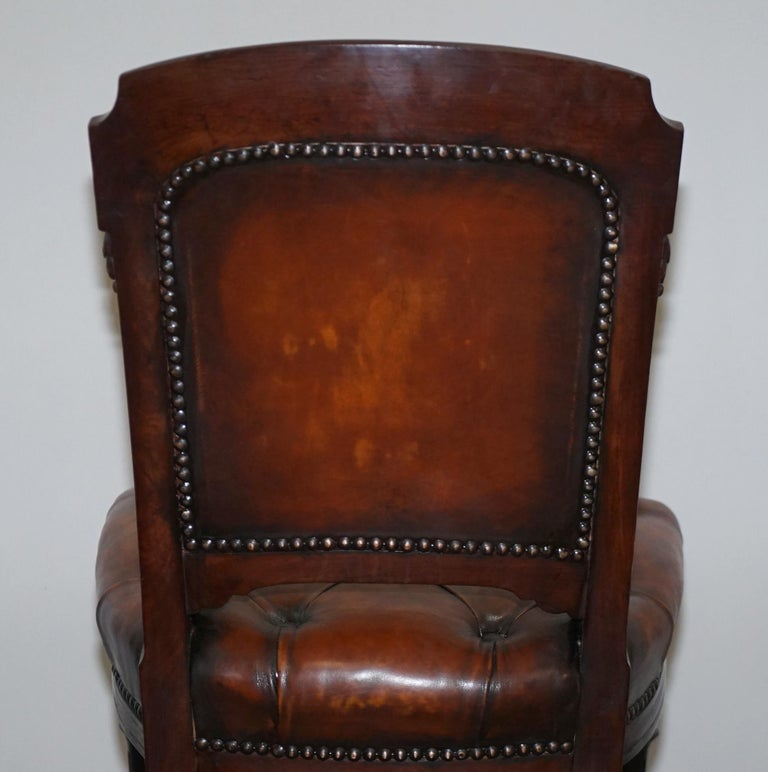 Fully Restored Suite of Five Chesterfield Brown Leather & Mahogany Dining Chairs For Sale 7
