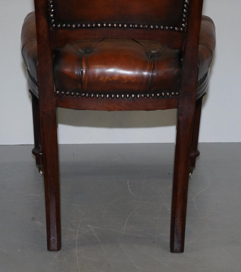 Fully Restored Suite of Five Chesterfield Brown Leather & Mahogany Dining Chairs For Sale 8