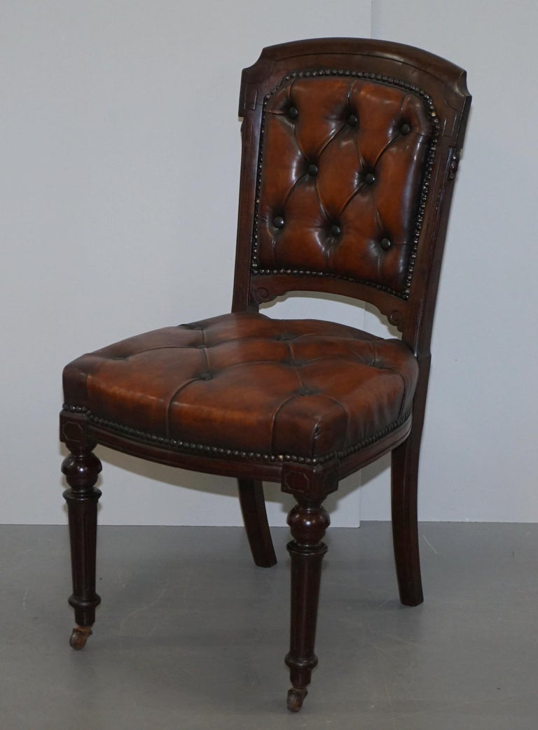 Fully Restored Suite of Five Chesterfield Brown Leather & Mahogany Dining Chairs For Sale 9