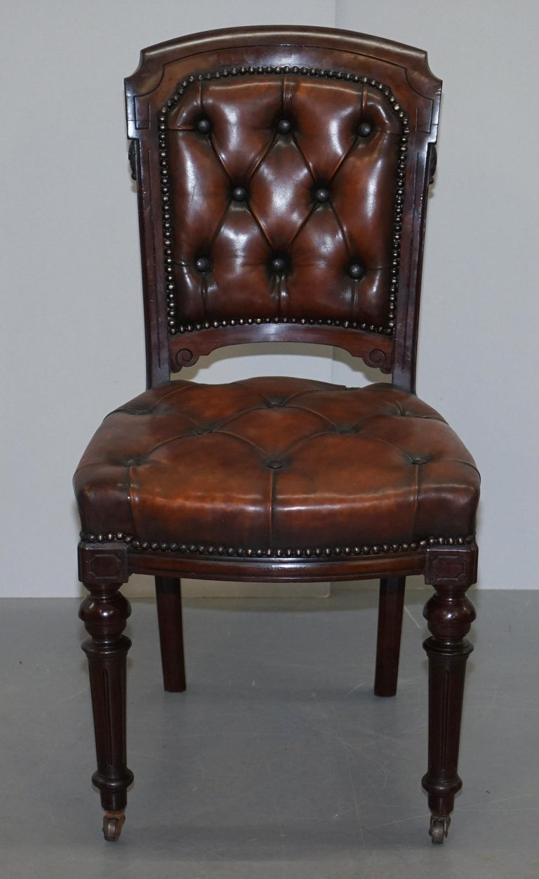 Fully Restored Suite of Five Chesterfield Brown Leather & Mahogany Dining Chairs For Sale 10
