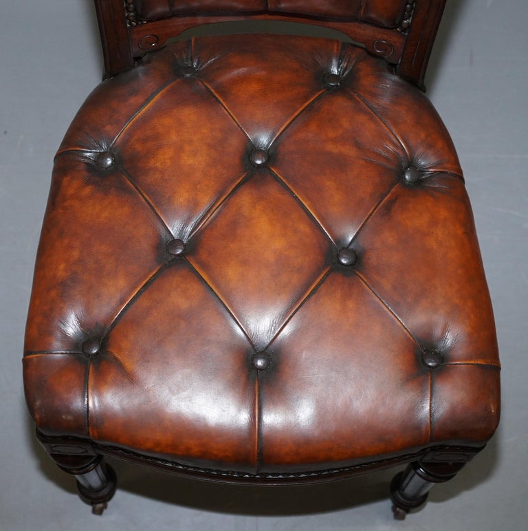 Fully Restored Suite of Five Chesterfield Brown Leather & Mahogany Dining Chairs For Sale 11